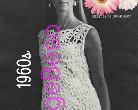 Dress Crochet Pattern • Ladies Summer Wear • Retro 60s Sexy Flower Shift Dress Pattern Retro Granny Square Style Boho • Watermarked PDF Only