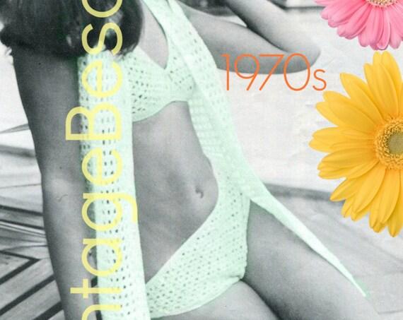 3 Crochet Patterns • Bikini CROCHET Pattern • 1970s Cover Up Bra Pattern Bottom Swimwear Beach Jacket Cover Up • INSTANT Download • PDF
