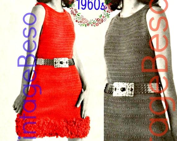 Mod Dress Crochet Pattern • 1960s Dress with Loop Stitch Trim • Vintage Crochet Pattern • Ladies Summer Party Dress • Watermarked PDF Only