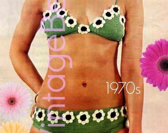 INSTANT DOWNlOAD • PdF Pattern • Bikini Crochet Pattern Vintage 1970s • Daisy Bikini Crochet Pattern • Summer Daisy Crochet Pattern