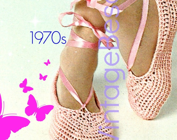 Ballet Slippers Vintage CROCHET PATTERN 1970s Retro Crochet Pattern Shoes Crochet Pattern Summer Dancing Instant Download PDF Pattern