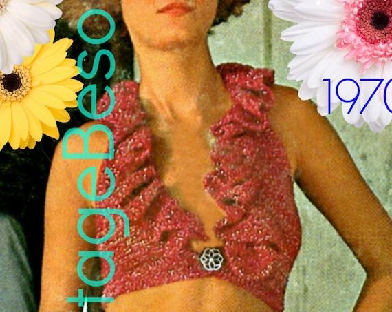 Top Crochet Pattern • Retro 1970s Halter Crochet Pattern • Big Ruffle • Deep Neck • Crop Top • Sexy • Backless • Watermarked PDF Only