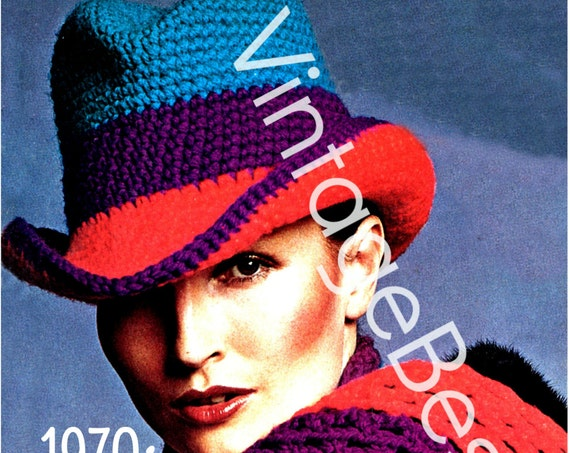 2 Patterns • Brimmed Hat Crochet Pattern and Scarf Crochet Pattern Set • Ladies 1970s Vintage Crochet Pattern • Watermarked PDF Only