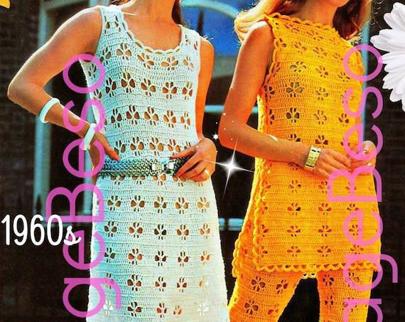 3 Crochet PATTERNS • INSTANT DOWNlOAD • PdF Pattern Vintage 1970s Dress Crochet Pattern Maxi Dress Tabard Ladies Pants Trousers Summer Wear
