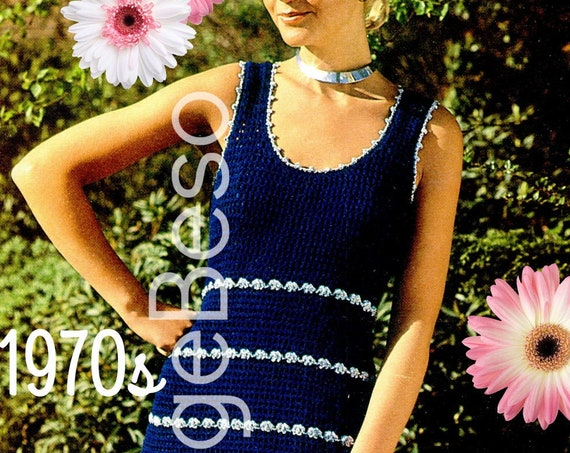 Dress Crochet Pattern • 1970s Sleeveless Stripe Dress •  Retro Sexy • MOD • Summer Crochet • Vintage Beso • Watermarked PDF Only