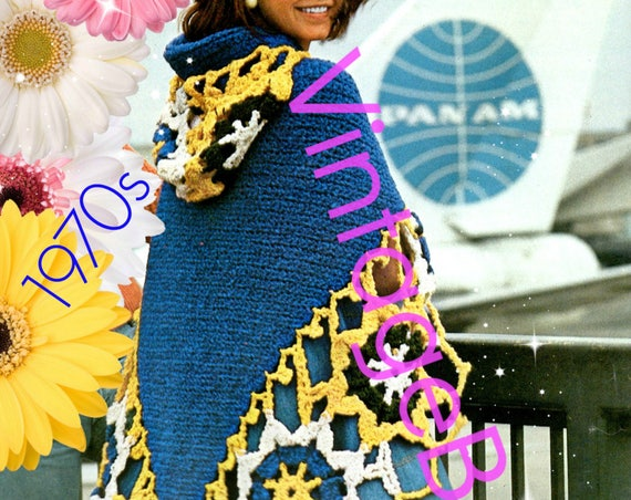 Hooded Cape Crochet Pattern • Vintage Crochet Pattern Granny Square Hooded Cloak • Motif • Medallion Shawl • Watermarked PDF Only