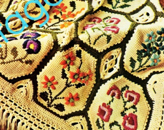 Afghan Crochet Pattern • Vintage 1970s Country Garden Afghan • Simple Afghan Stitch • Embroidery Flowers Crewel • Watermarked PDF Only