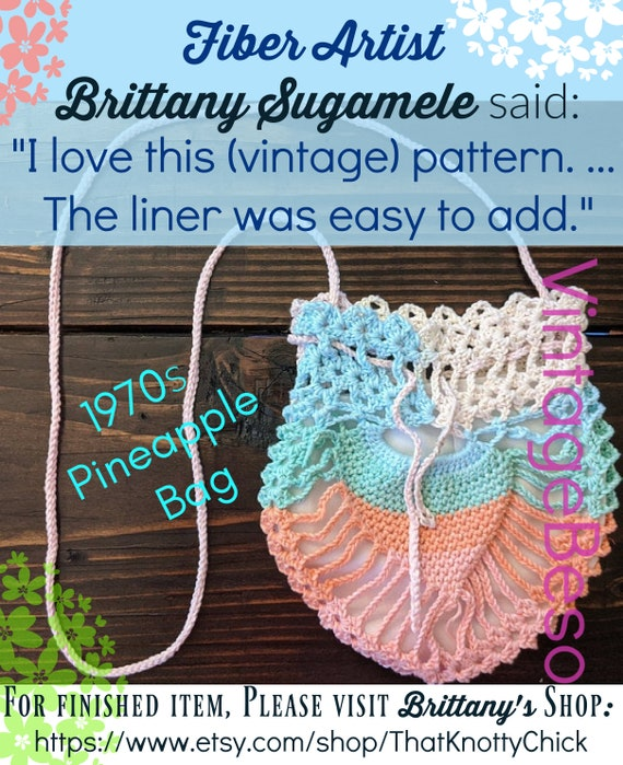 Pineapple Bag Crochet Pattern • Antique Purse • Nod to Victorian Days • 70s Vintage • Perfect Party Size • Retro Fun • Watermarked PDF Only