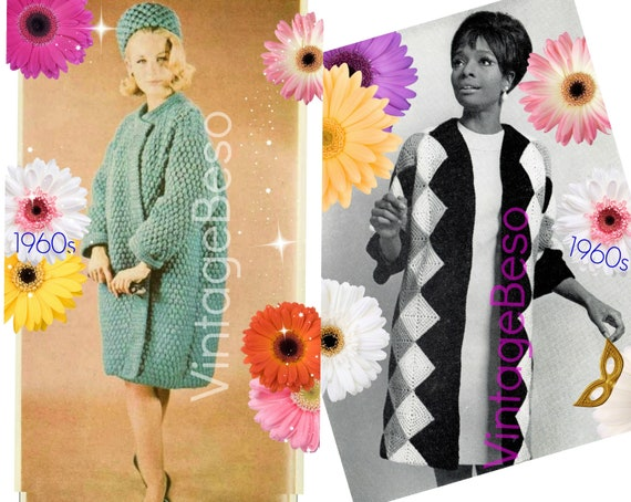 3 Patterns • 2 Coat Crochet Pattern + Pillbox Hat Crochet Pattern • Vintage 1960s Diamond Coat Topcoat and Hat • Watermarked PDF Only