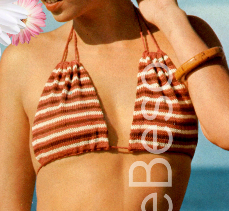 Digital Women/'s Swimsuit Knitting Pattern One Piece Backless to Knit /& Crochet Swimwear Beach Wear Vintage PDF Download file