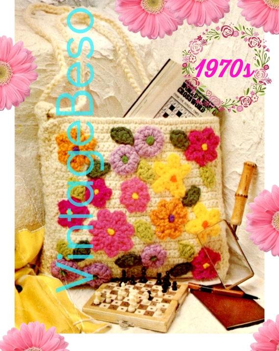 EASY Bag Crochet Pattern • 70s Vintage Bag • Flower Power Purse • Handbag • Colorful • Retro Fun Tote • Happy Bright • Watermarked PDF Only