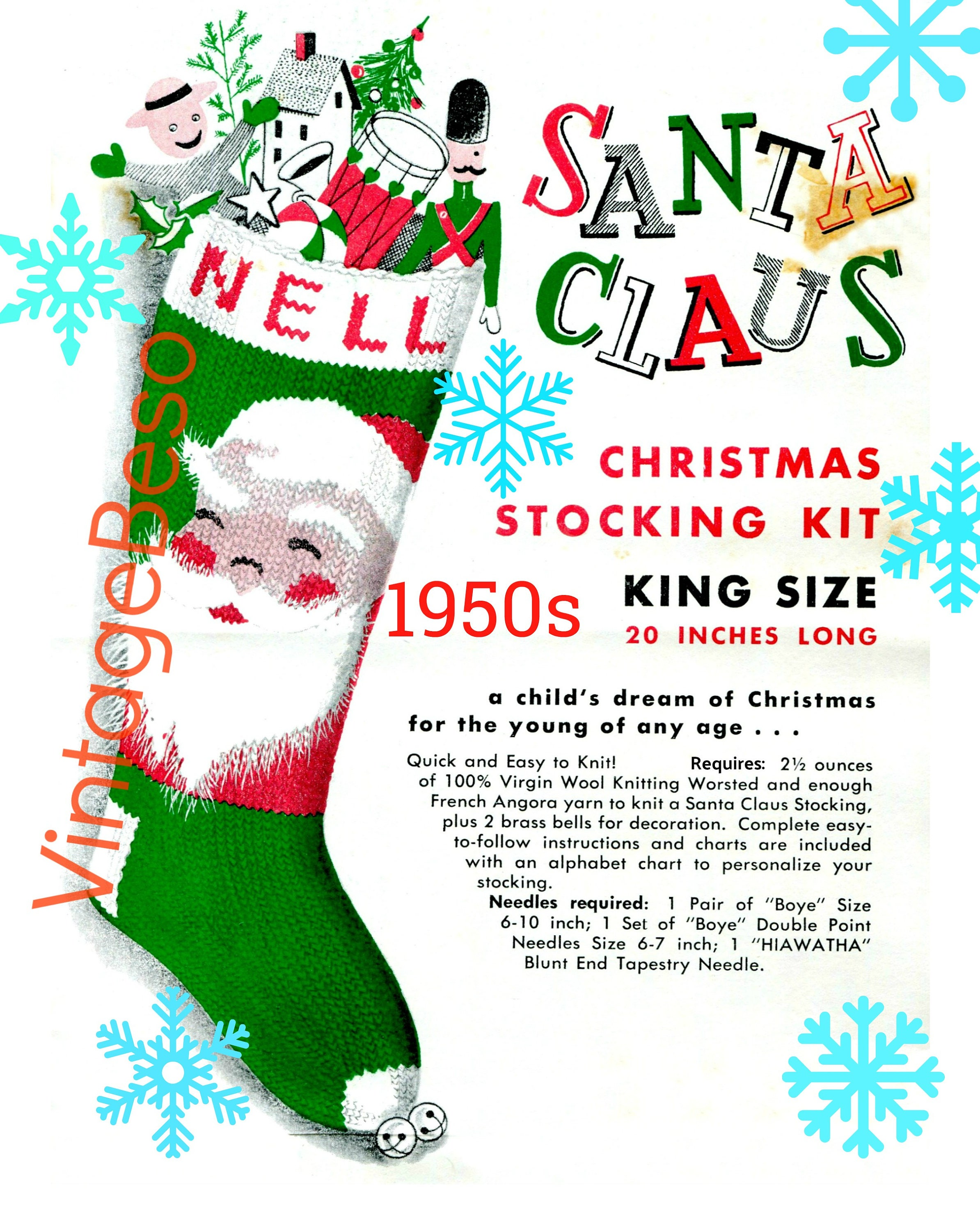 Knit Christmas Santa Face Stocking Pdf Pattern Classic