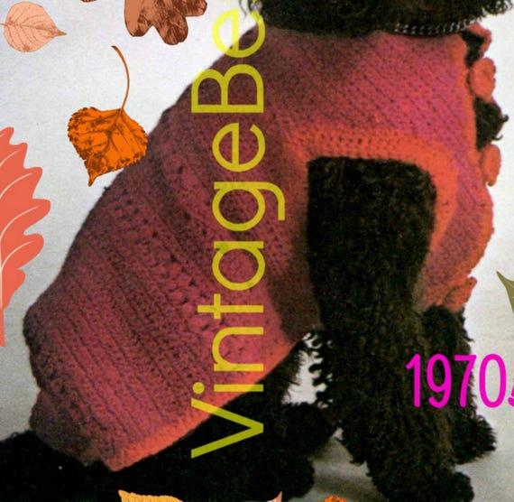 Boho Dog Sweater Coat Crochet Pattern 1970s Vintage Rare Etsy