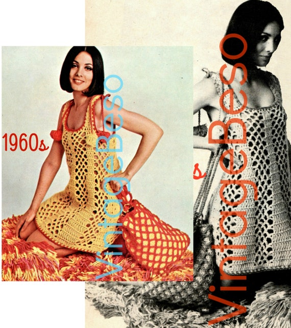 Beach Coverup Dress AND TOTE • Instant Download • Vintage Crochet Pattern • 1960s Open Mesh Summer Swimsuit and Bikini Coverup Groovy Dress