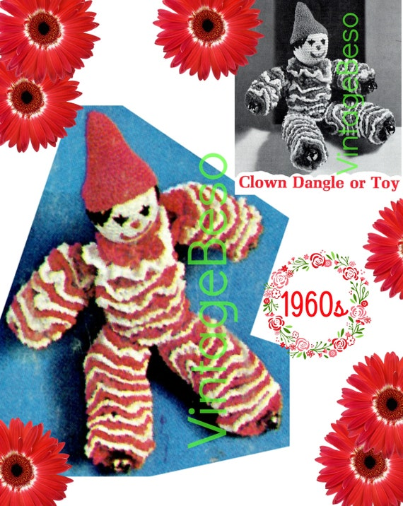 Clown Dangle Toy CROCHET Pattern • Vintage 1960s Soft Pal Crochet Pattern • Happy Clown Pattern • PDF Pattern • Digital Download