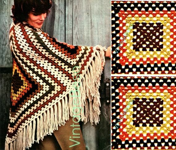 Crochet PATTERN • Vintage SHAWL 1970s Easy Beginner Granny Square Crochet Pattern Wrap Coat Jacket VintageBeso • Watermarked PDF Only