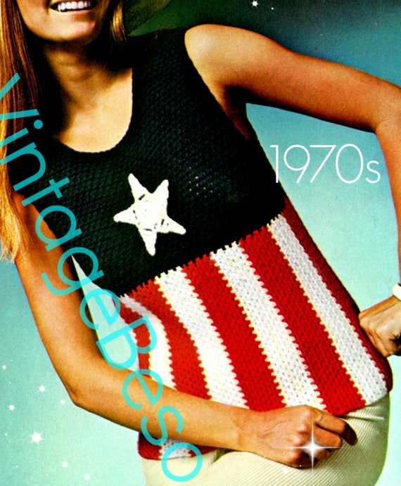 Top Crochet PATTERN • INSTANT DOWNlOAD • PdF • Vintage 70s American Star Patriot Ladies 4th of July USA American Flag Summer Patriotic