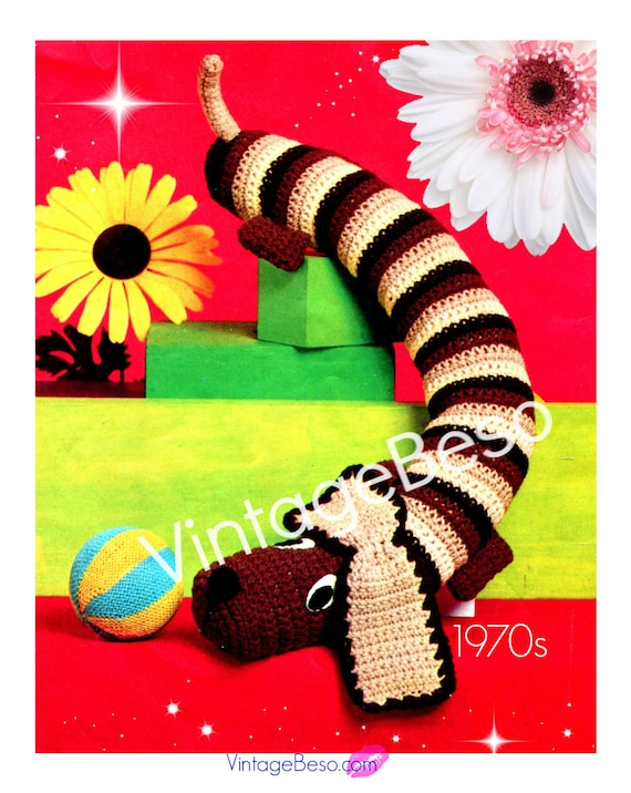 Dog Draft Stopper Dog CROCHET PATTERN 70s Draught Excluder Home Decor prevents wind from coming under door • Watermarked PDF Only