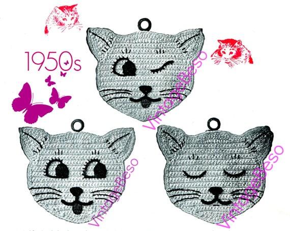 Cat Crochet Potholder • 1950s • Vintage Crochet Pattern • Kitchen Decoration • Crochet Potholder • Meow Crochet Cats • Watermarked PDF Only