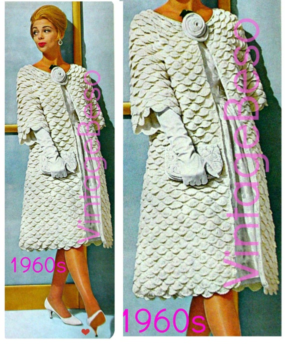 Easy Coat Crochet Pattern •  Retro 1960s Elegant Lady Evening Coat • Crochet Pattern Crocodile Mad Men Shell • Watermarked PDF Only