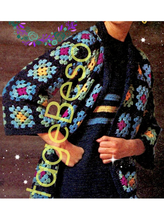 Granny Square Coat + Dress Crochet Pattern • PdF Pattern • INSTANT DOWNlOAD • Vintage 1970s • Sweater • Jacket • Clothing