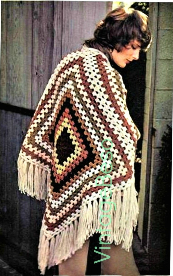 EASY Shawl Crochet PATTERN • 1970s Granny Square Shawl Crochet Pattern • Tri Square is Flingy Fun • Watermarked PDF Only