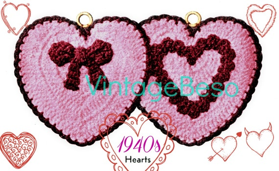 Heart Potholder Crochet Pattern • 1940s Crochet Pattern Actual Pattern Used by Bomb Girls in 1940s bow Love • Watermarked PDF Only