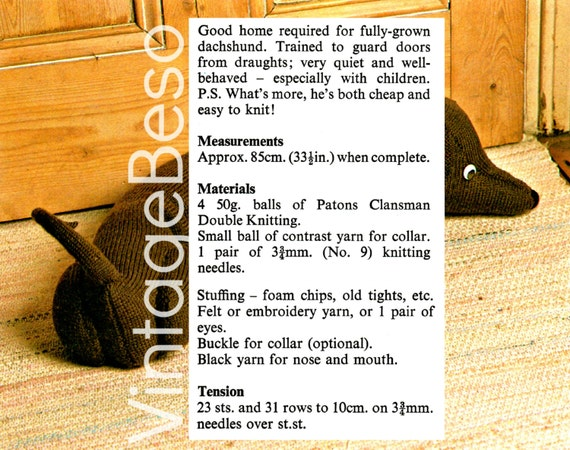 Instant Download Pdf Pattern Draught Excluder Knitting Etsy