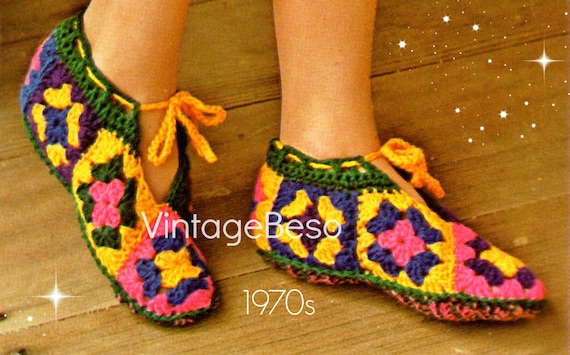 EASY Slippers Vintage Crochet PATTERN • Vintage 1970s Granny Square Slippers + Fun Hair Ponytail • Watermarked PDF Only
