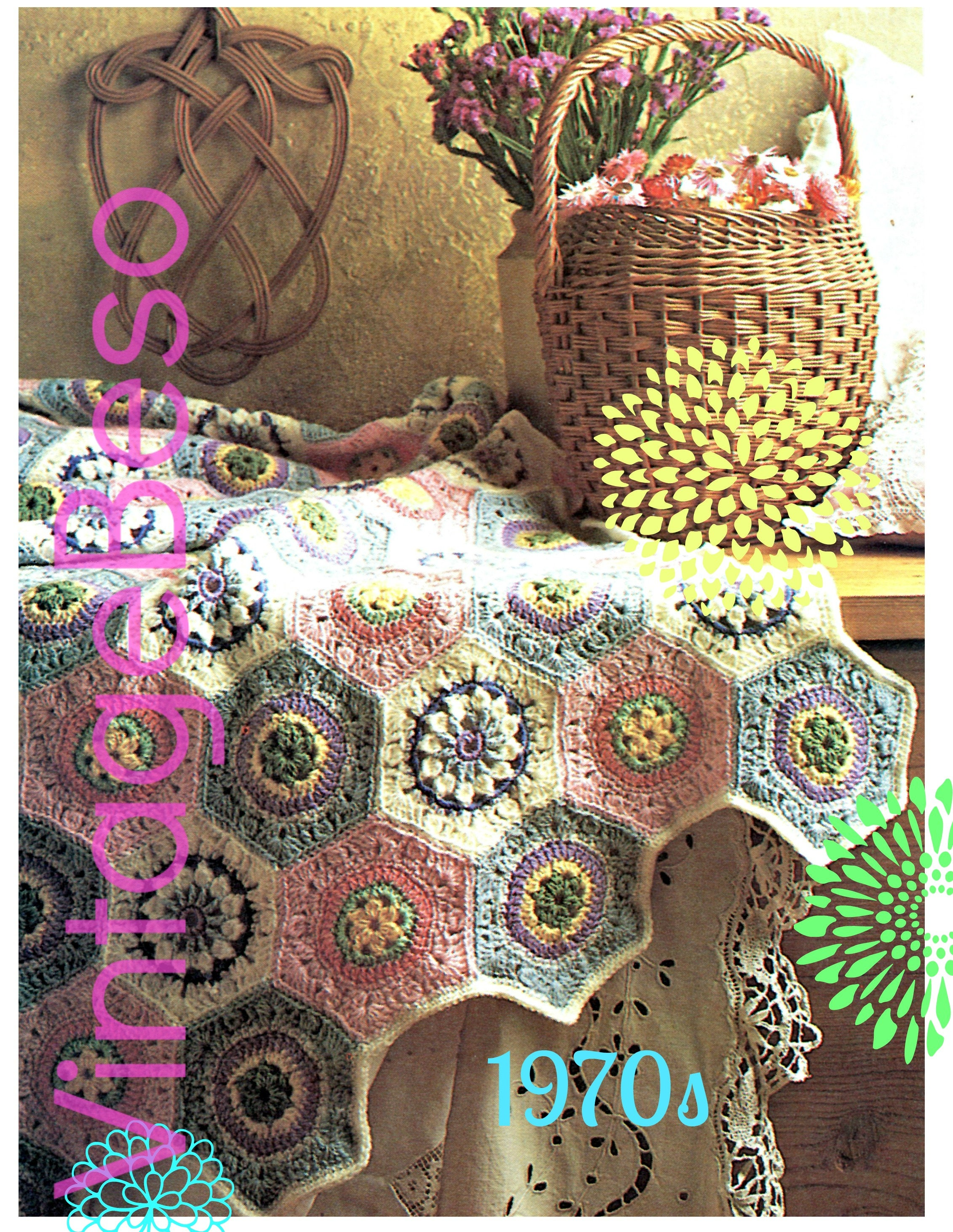 Easy Afghan Crochet Pattern Vintage 70s Pastel Hexagon Afghan