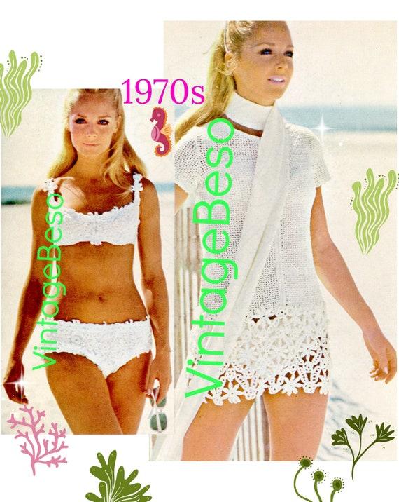 Flower Bikini Crochet Pattern + Flower Beach Dress Pattern • 1970s Vintage CROCHET Pattern • Digital • PdF • Summer Ladies Swimwear