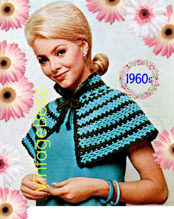Cape Crochet Pattern • 1960s Crochet Pattern • Ladies Striped Short Cape • Lovely Shoulders Cover • USA Crochet Terms • Watermarked PDF Only