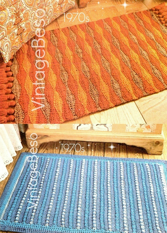 2 EASY RUG CROCHET Patterns • Home Crochet Patterns • 1970s Rug Crochet Pattern • Bohemian Decor Vintage Pdf Patterns • Instant Download Pdf