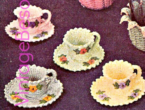Crochet Tea Cups + Saucers with flowers and leaves 1950s Crochet Vintage Pattern party paper clips or small trinkets • Watermarked PDF Only