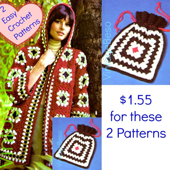 Hooded Jacket Crochet PATTERN • 1970s Coat • Granny Square Sweater • Hippie Sweater + Tote Bag • Hippie Jacket • Instant Download • PDF Only