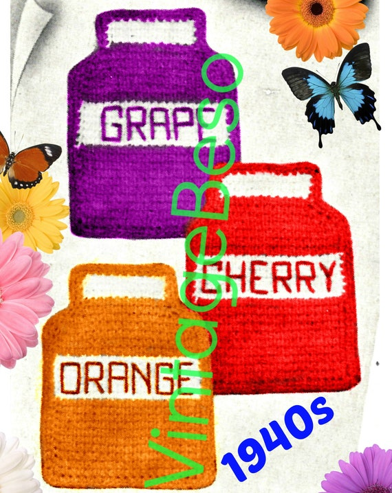 Jam Jar Potholder CROCHET Pattern • Rosie the Riveter made these! Grape Cherry Orange Potholders • WWII Wartime 1940s • Watermarked PDF Only