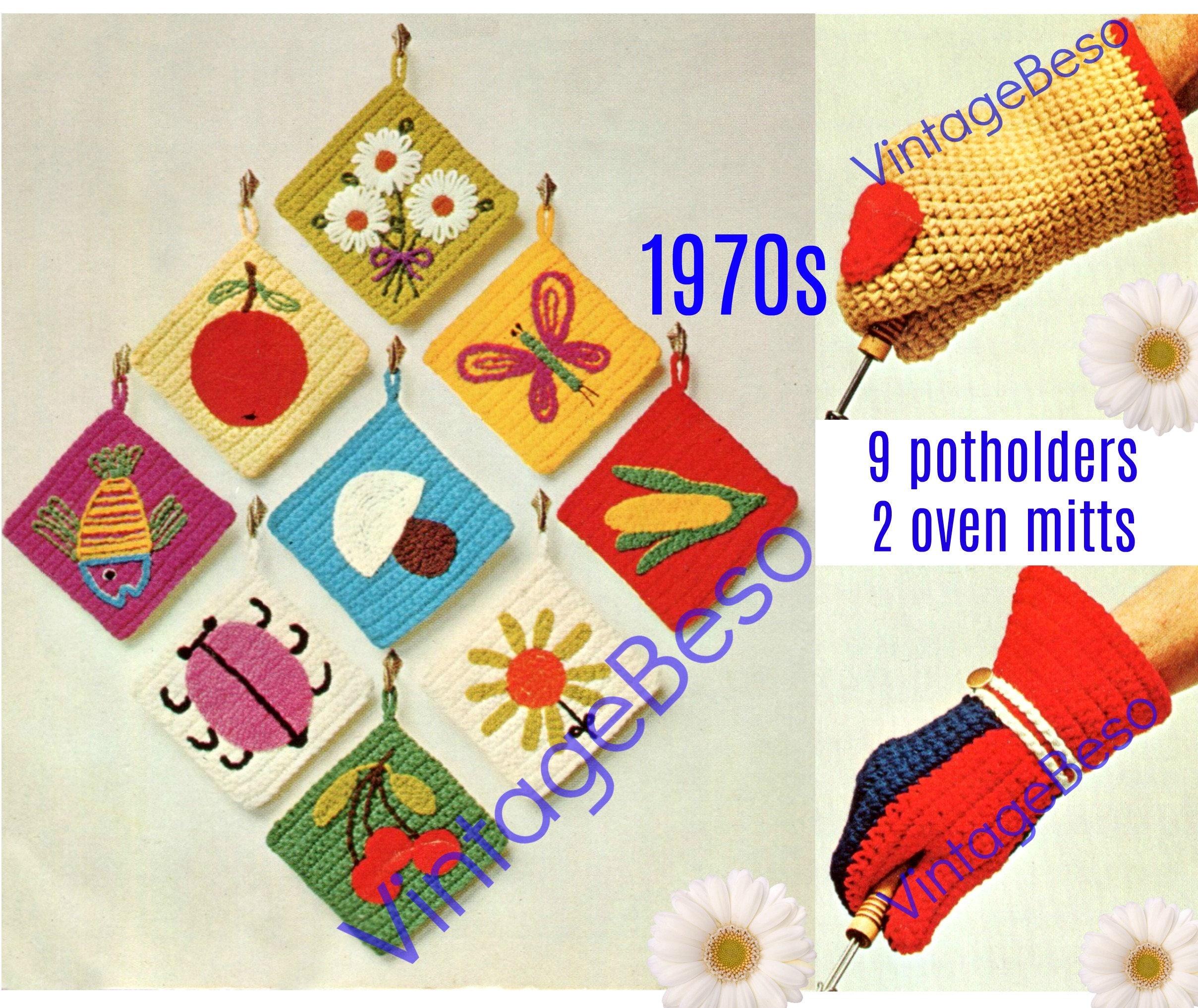 9 Potholders And 2 Oven Mitts Potholder Crochet Pattern Etsy