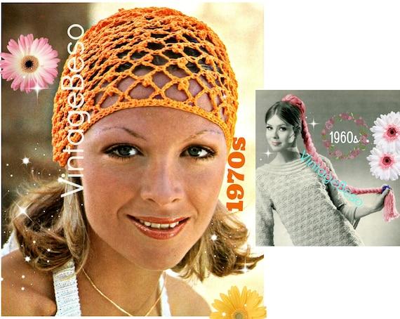 Vintage 1970s Crochet Pattern • Lovely Feminine TRELLIS PAttErn so YOU can wrap into Hat Cap Coronet Headdress Style • Watermarked PDF Only
