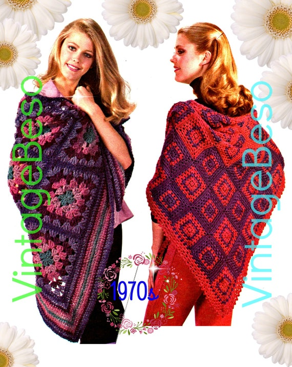 DIGITAL PATTERN • Two SHAWL Crochet Pattern • 2 Patterns • Two Toned Shawl • Ladies 1970s Vintage Romantic Shawls • PdF Pattern