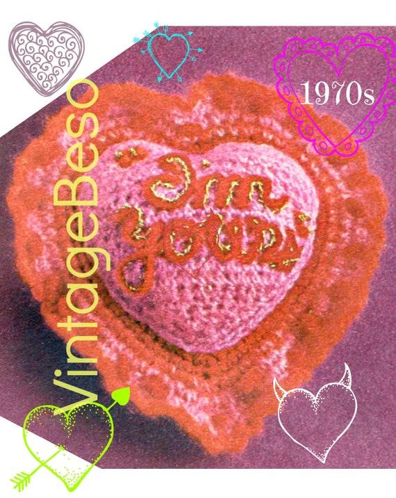 I'm Yours Heart CROCHET Pattern • Retro 1970s PIllow • PDF Pattern • Vintage Valentine's Day Holiday • Digital Pattern • XOXO • Gift