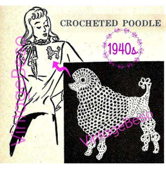 Poodle Crochet Pattern • Dog Crochet Pattern • Retro 1940s • Just the thing for your Poodle Skirt Beautiful Show Dog • Watermarked PDF Only