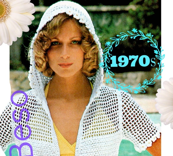 Hooded Jacket Crochet Pattern • PdF • INSTANT DOWNlOAD • Vintage 1970s • White Flower Hooded Jacket • Filet • Beach Coverup • Sexy Lady