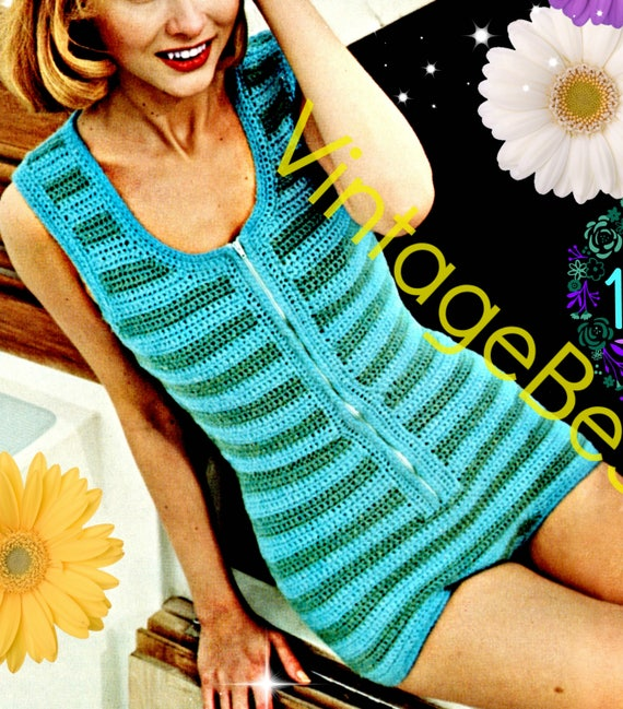 Retro Sexy Beach PLAYSUIT ROMPER • 70s Vintage Crochet Pattern • Sunsuit Unitard • Maillot Striped One Piece Leotard • Watermarked PDF Only