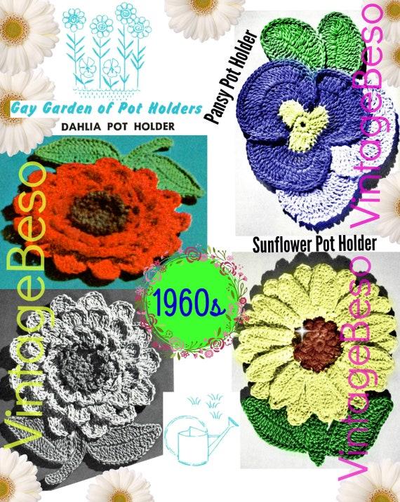 Potholders Garden CROCHET Pattern • Vintage 1960s • Flower Potholders • Dahlia Sunflower Pansy Potholders • Watermarked PDF Only