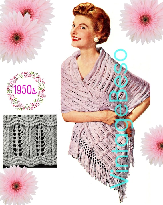 SHAWL Knitting Pattern • 1950s Knit Pattern • Elegance • Digital Download • PDF Pattern • Ladies Feminine Stole
