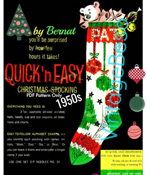 Instant Download • RARE Christmas Knitting Pattern • Stocking Pattern • Bernat • PDF Pattern Only • 1950s Vintage Knit Pattern • Retro Xmas