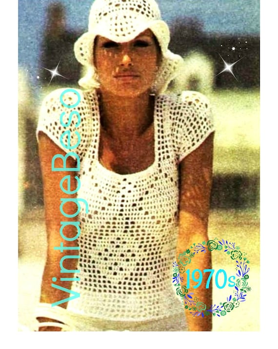 PDF Pattern • 2 patterns • Top Crochet Pattern Vintage 1970s Hat Crochet Pattern Beach Party Festival Summer Holiday Beach Instant Download