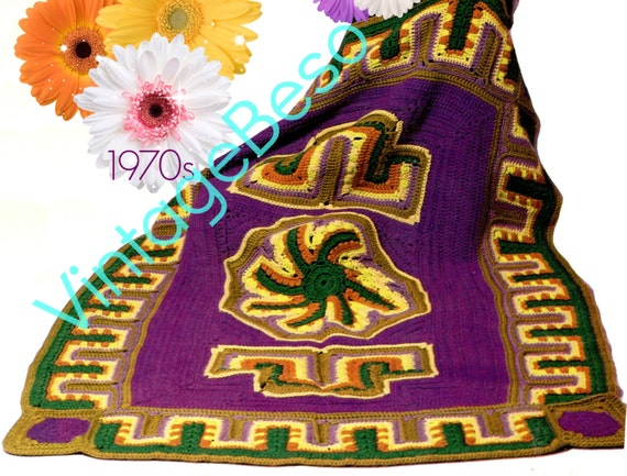 Afghan Crochet Pattern • Retro 1970s Shiraz Afghan • Persian Botanicals Inspired • EXPERIENCED CROCHETER Only • PDF Only