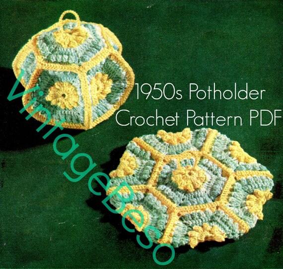 Potholder Crochet Pattern • Vintage 1950s Lantern Crochet Pattern Lantern Potholder is Unique Lovely Functional • Watermarked PDF Only