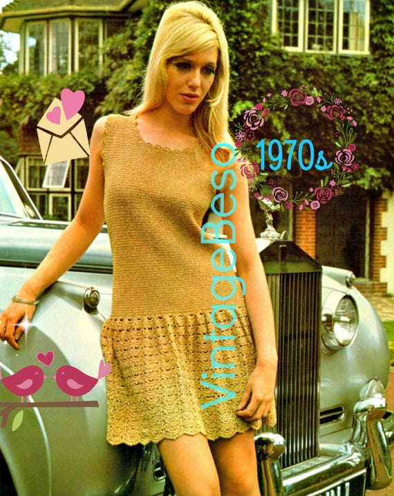 Vintage Crochet Pattern 1970s Gold London Lady Dress EASY MOD Mini Dress Party Dress Summer Dress Vintage Beso Instant Download PDF Pattern